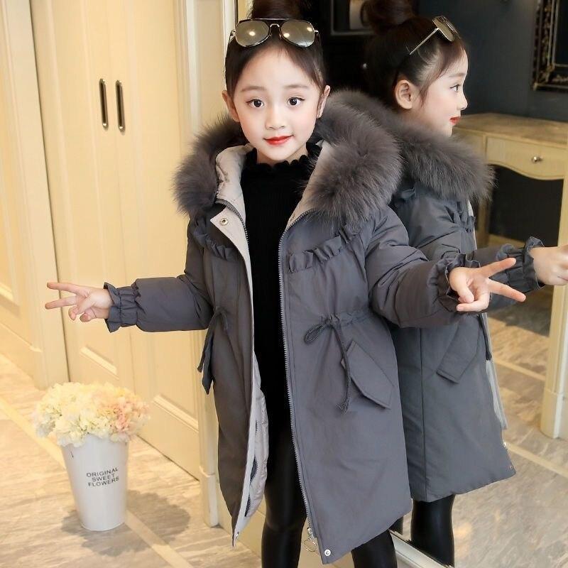 أطفال الشتاء سترة طويلة للفتيات ملابس المراهقين الأولاد ملابس فو معطف بياقة من الفرو سنوسويت ملابس خارجية & معاطف سترة الأطفال