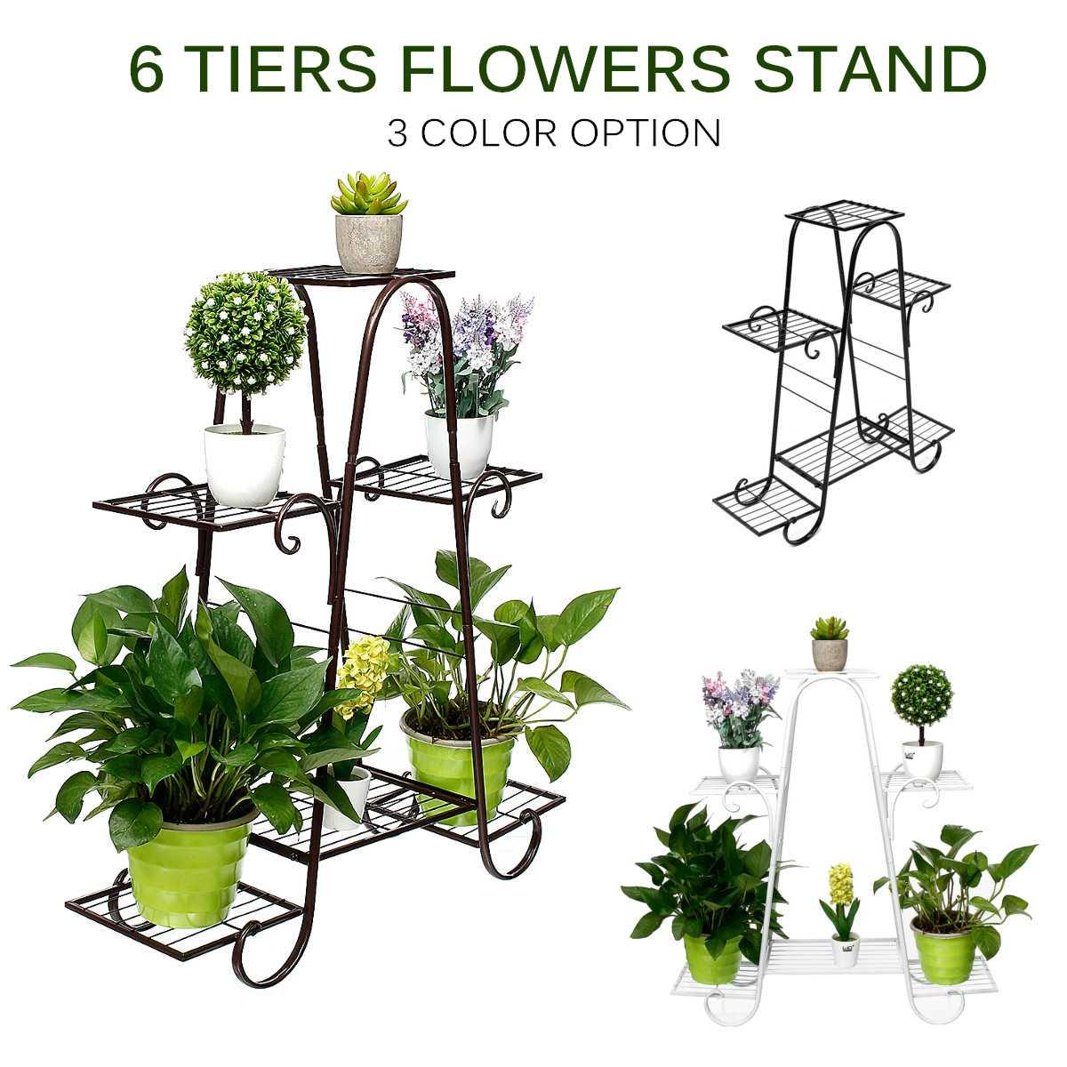 6 capas Retro hierro flor soporte plantas maceta bandejas Bonsai plantador exhibidor estantes balcón hogar jardín decoración 77x25x83cm