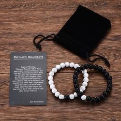 2 шт./компл. браслет для пары Классический Натуральный Камень Белый и Черный Инь Ян бисерные браслеты для мужчин женщин лучший друг хит