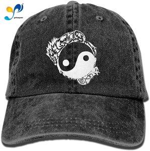 Sports Denim Cap Tribal Wolf and Cat Yin Yang-1 Women Baseball Cap Adjustable Baseball Hat