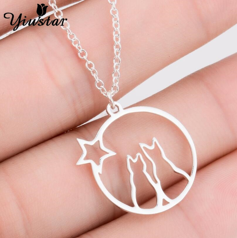 Trend Christmas Gifts Cat Couple Pendant Necklaces for Unisex Watch Stars Jewelry Stainless Necklace