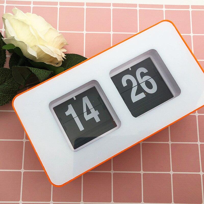 Relojes de escritorio giratorios a pequeña escala, reloj naranja operado por engranajes internos, reloj creativo Horloge de escritorio, Decoración de cocina y oficina Ornamen