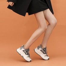 2021 New Women's Spring Platform Chunky Sneakers,Gray Brown Sports Shoes,Comfort Casual High Sneaker
