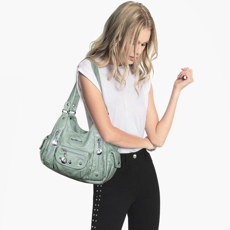 Angel Barcelo Newest Fashion Bag Women Bags PU Leather Hobo Bag Top-handle Handbag Female Satchel Ladies Shoulder Bags