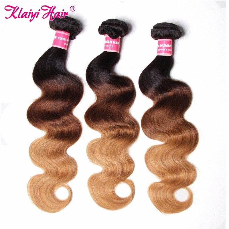 KLAIYI pelo Ombre 3 mechones Malasia cuerpo ondulado tres tonos pelo humano tejido 1B/4/27 Remy extensión de pelo puede comprar 3 unids/lote