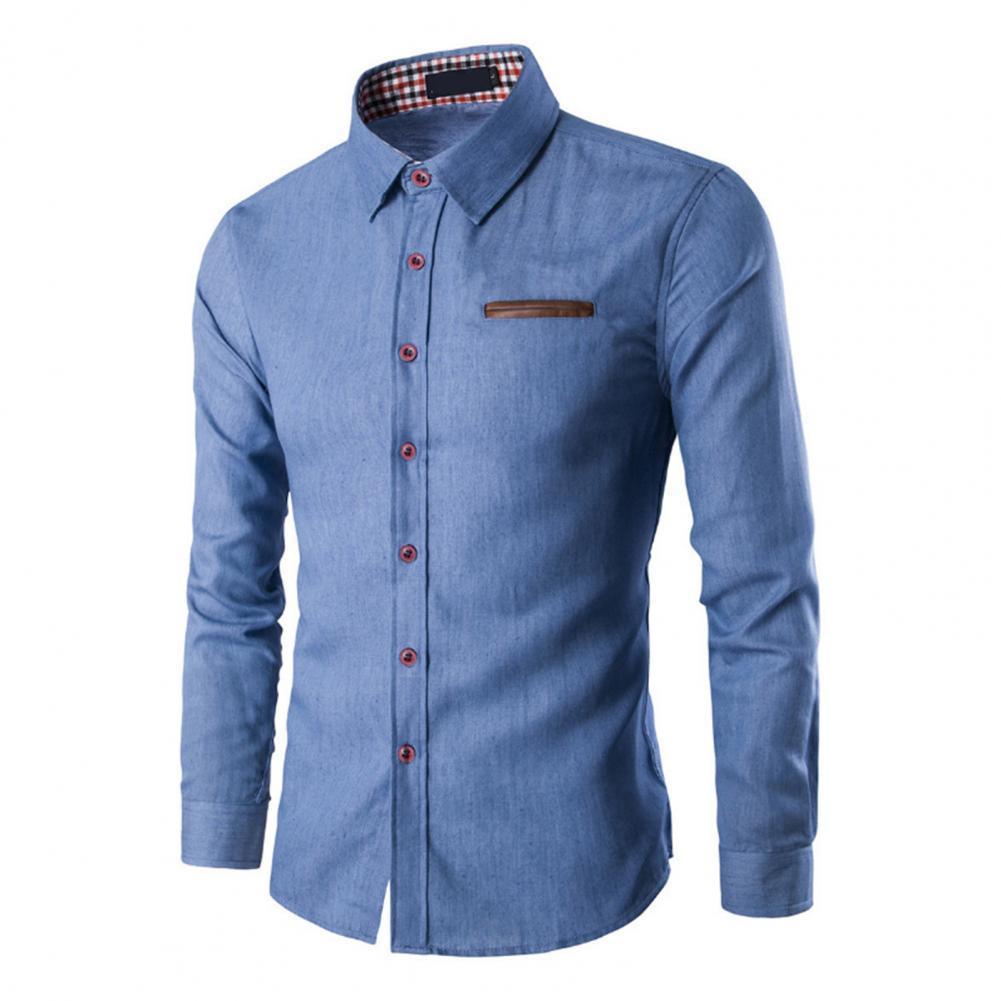 70% Прямая поставка! Мужские однотонные джинсовые рубашки с длинными рукавами, дышащий Повседневный джинсовый топ для работы