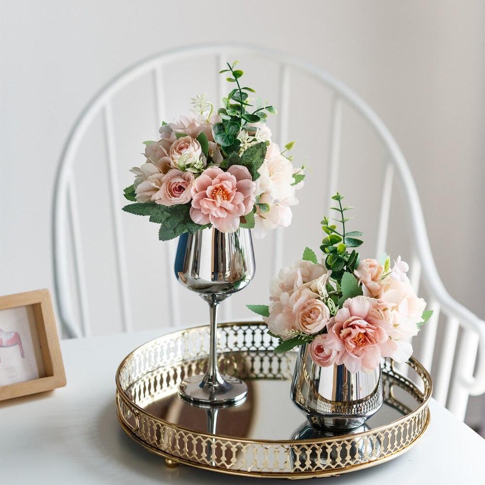Orquídea de nieve Artificial, flores falsas para el hogar, fiesta de boda, cumpleaños, Año Nuevo, decoración Floral para el hogar, hortensias de seda, jarrón con adorno Floral