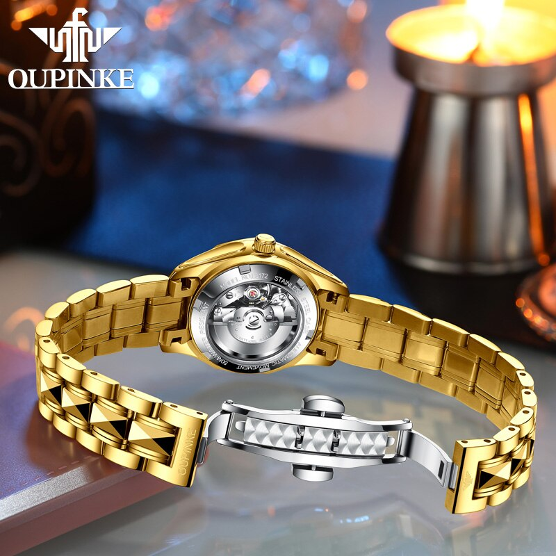 OUPINKE Luxury Gold Mechanical Watch For Women Sapphire Crystal Automatic Watch Ladies Wristwatches Waterproofrelogio feminino enlarge