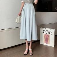 korean fashion vintage midi skirts with lining summer 2021 high waist a line office lady black elegant womens suit skirt femme