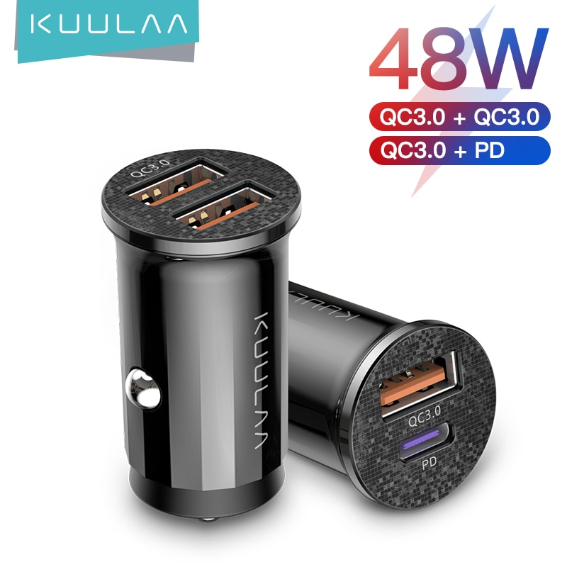 KUULAA Mini USB Car Charger Quick Charge 4.0 PD 3.0 36W Fast Charging Charger For iPhone Huawei Xiao