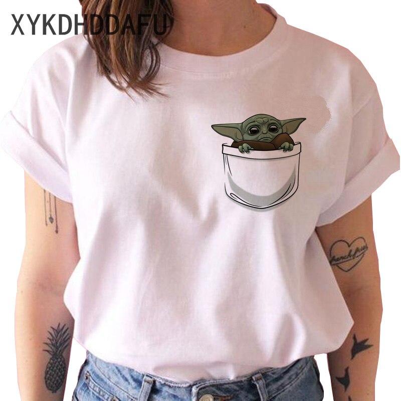 Bébé Yoda Mandalorien T-shirt Hommes/femmes Star Wars Esthétique T-shirt Mâle top T-shirts Harajuku Tshirt Drôle De Bande Dessinée De Film Sataniste