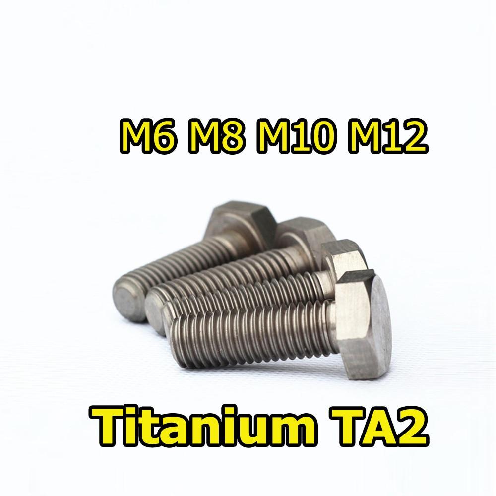10pcs Titanium Parafuso Parafuso do Hexágono Externo GR2 M6 M8 M10 M12 x10 12-35 40 45 50 55 60 65 70 75 80 85 90 95 100 110 120 Ti Fastener