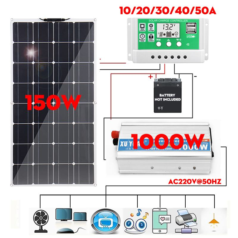 150/300W Monocrystalline Solar Panel Dual USB With 10-50A Controller 1000W Power Inverter Vehicle RV Marine Battery Charger