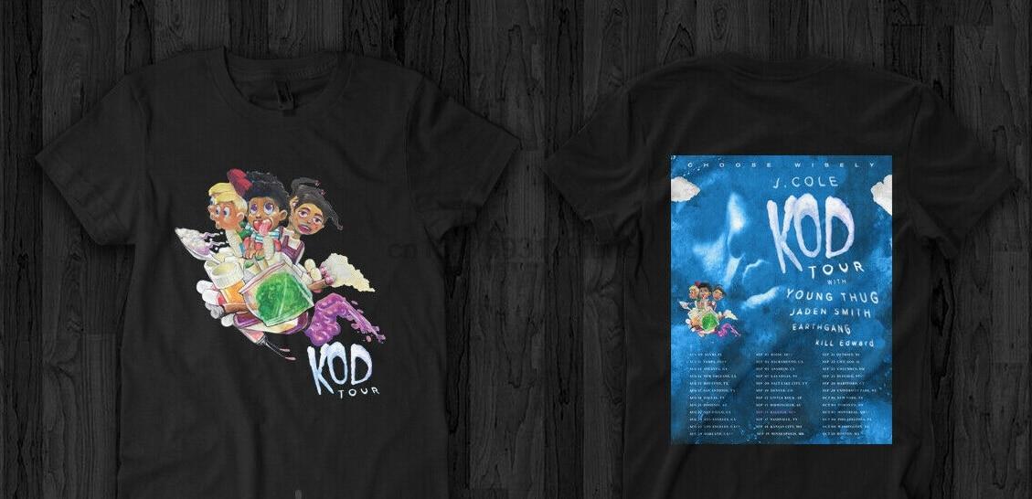 J Cole KOD Tour Merch T camisa, setiawangsa de Coleworld matón joven Jaden camiseta Smith de los hombres
