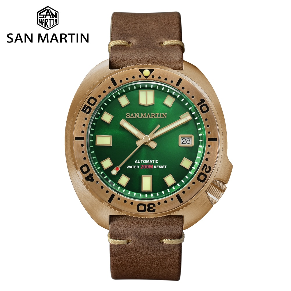 San Martin Abalone Bronze Diver Watch Automatic Men Mechanical Watches Luminous 200M Green Dial Buck