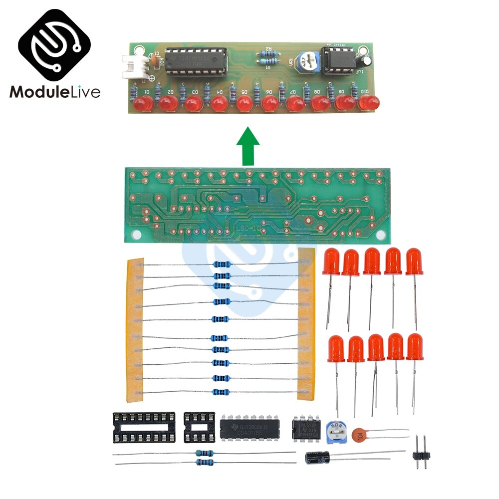 NE555 + CD4017 práctica aprendiendo Kits de luces intermitentes led módulo paquete de electrónica DIY Kit para Arduino LSD-10 3-4,5 V