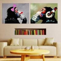 Decoration murale avec singe  musique douce  images murales pour salon  peinture sur toile imprimee