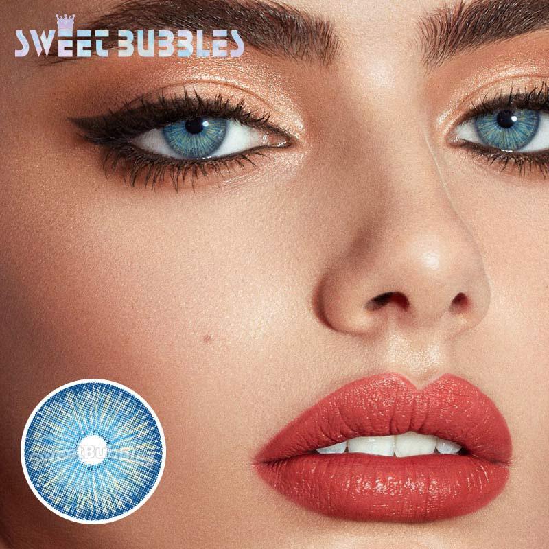 SweetBubbles New York Series UV Cut Protect kolorowe soczewki kontaktowe małe środkowe źrenice w niebieskim kolorze szkła okularowe 2 sztuk/para