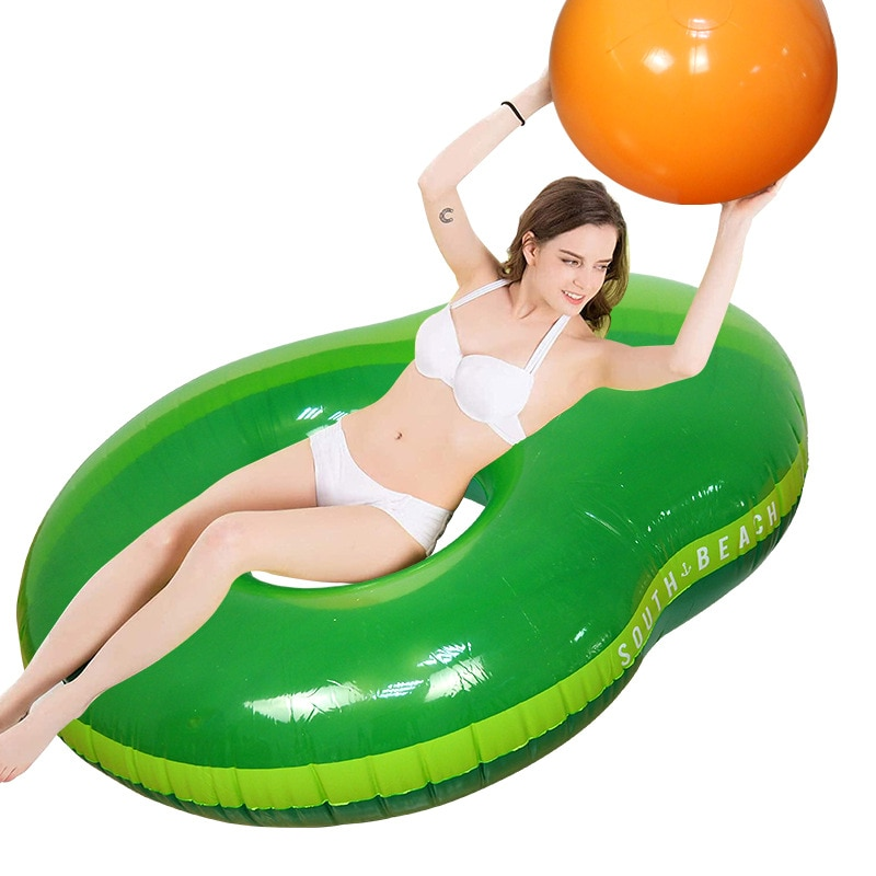 Avocado Floating Row New Inflatable Pool Floating Bed For Adults Water Lounger With Inflatable Ball Avocado Lounger Swim Toys