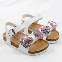 girl sandals children casual shoes cork pu soft leather footwear flat with kids gold silver hookloop girls butterfly shoes