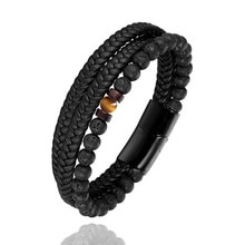 New product fine leather bracelet natural lava stone braided leather stainless steel bracelet for me