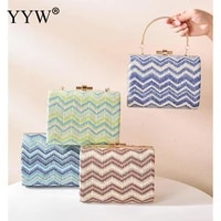 resort style clutch womens hand bags new arrival 2021 braided wave pattern messenger crossbody bags for women single shoulder