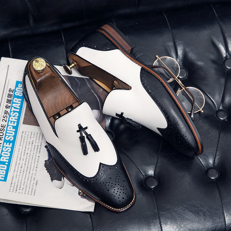 Spring and autumn lefook mens shoes British casual trend business dress breathable large size 38-48