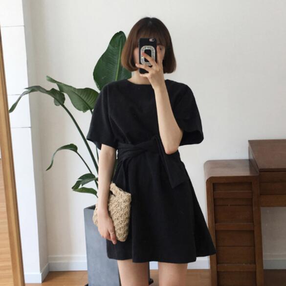 Mujeres verano gótico vendaje Sexy Mini vestido mujer breve manga corta Vestidos de cintura alta Sommer mujer Ete 2019 DV553
