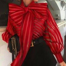Bureau dame nœud papillon Blouse chemises femmes automne point impression lanterne manches Blusa hauts élégant Srping automne doux Blouses hauts
