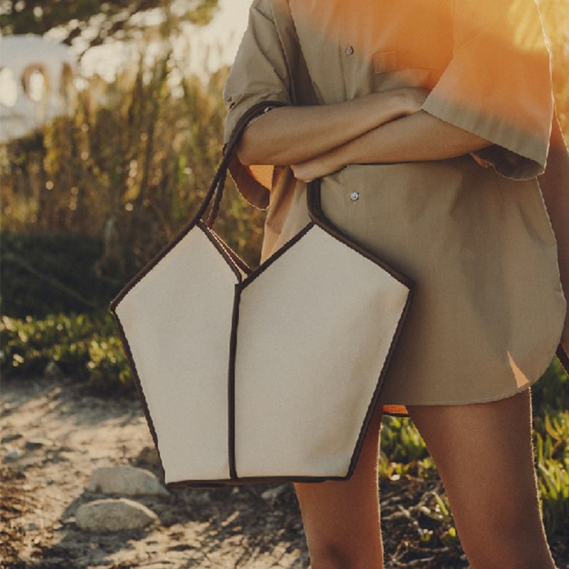 Bolsa de Ombro Bolsa de Compras Simples Lona Tote Bolsa Feminina Grande Capacidade Alça Cor Sólida Designer Meninas Totes