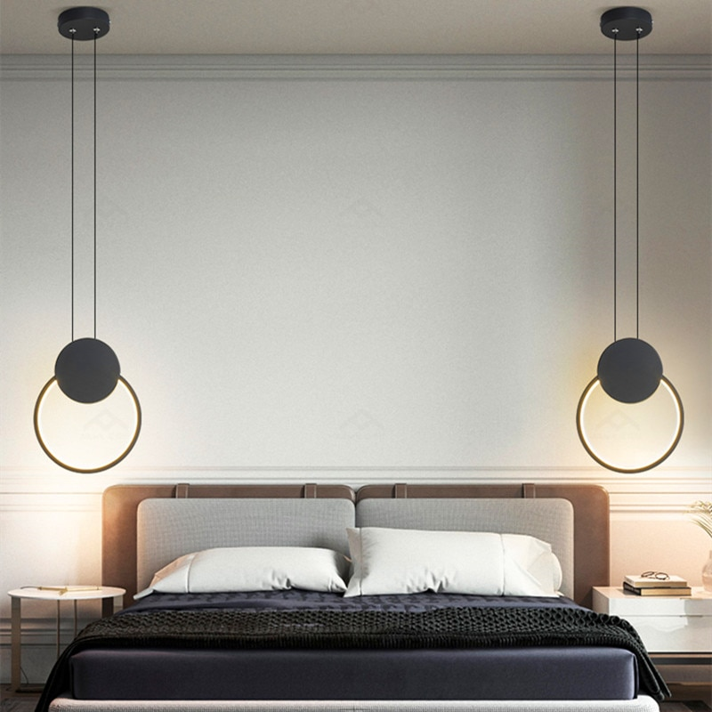 الشمال حلقة مستديرة قلادة Led أضواء السرير غرفة نوم المطبخ تركيبات معلقة مصابيح إكسسوارات ديكور منزلي الإضاءة الداخلية