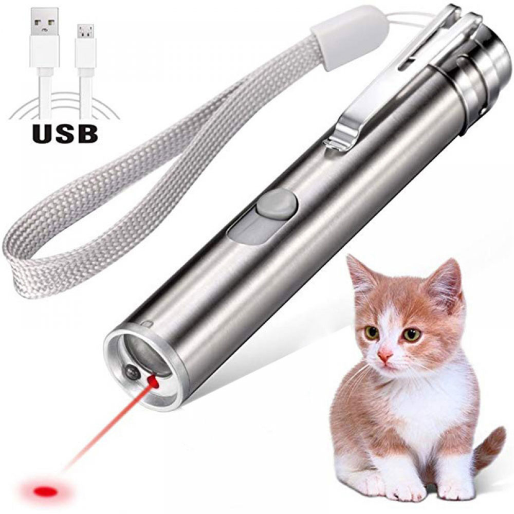 Juguetes de gato 3 en 1 multifunción, divertido juguete láser para gatos, herramienta de entrenamiento de ejercicio con puntero de luz LED recargable por USB interactiva