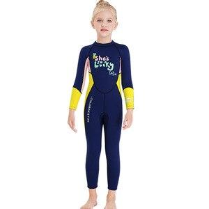 Неопреновые гидрокостюмы 2,5 мм, детские купальники, костюмы для дайвинга с длинными рукавами, для мальчиков и девочек, детские спортивные топы, слитные комплекты для подводного плавания