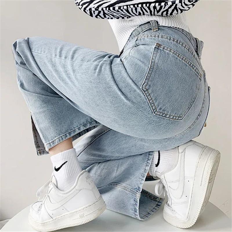 Джинсы женские свободные с завышенной талией, мешковатые брюки из денима с разрезом, уличная одежда в стиле Интернет-магазина, y2k