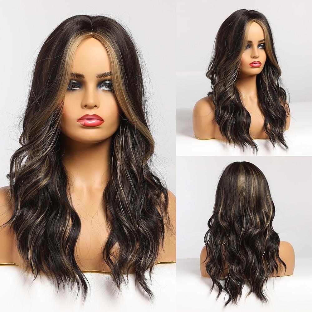 EASIHAIR, pelucas onduladas de color marrón oscuro, Alta Luz, peluca de cabello Natural para mujeres medias, peluca sintética de parte media, Cosplay resistente al calor