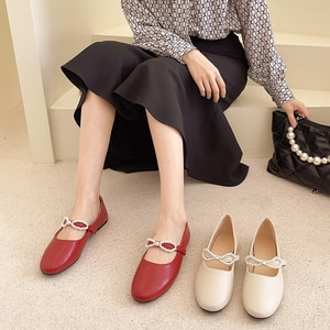 Mary Janes Ladies Shoe 2021 Summer New Leather Bellet Flats Women's Shoe String Bead Shallow Single Shoes Flat Slip-on Brand