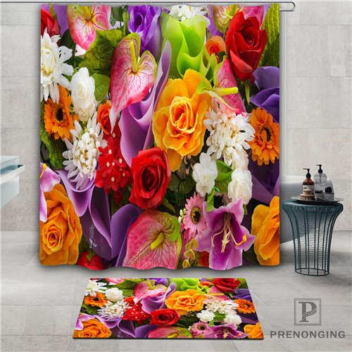Custom colorful-flowers (1) Waterproof Shower Curtain  Doormat Home Bath Bathroom  Polyester Fabric Multi Sizes#2019-1-05-46