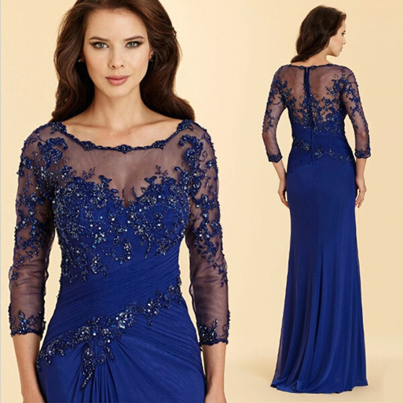 2021 Beaded Lace Royal Blue Mermaid Mother of The Bride Dresses 3/4 Sleeves Weddings Plus Size Chiff