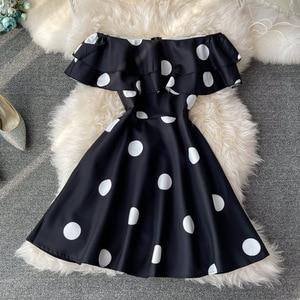 Women Evening Dress Short Polka-dot Strapless Slash Neck  Slash Neck Casual Midi Dress Off The Shoulder Regular Assorted Summer
