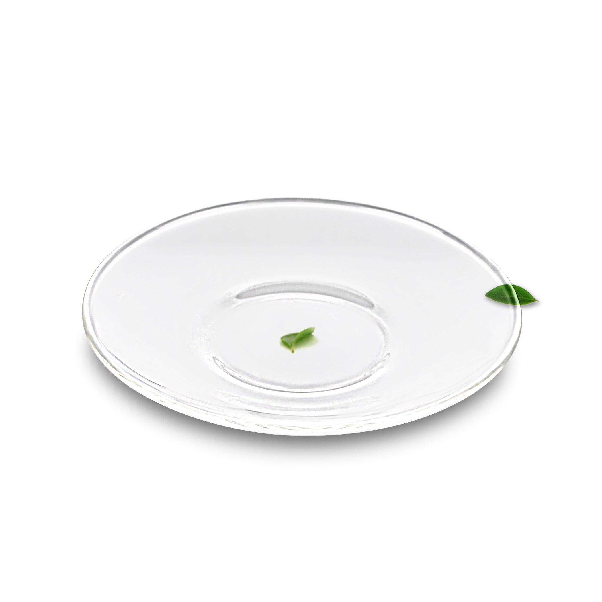 Много жаростойких прозрачных стеклянных чашек для чая и кофе тарелка-L наружный диаметр 125 мм