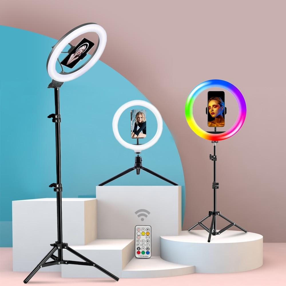 BEIYANG 10 بوصة RGB مصباح مصمم على شكل حلقة التصوير Led الفيديو الضوئي مع حامل ثلاثي القوائم و حامل هاتف حلقة مصباح ل Youtube بث مباشر