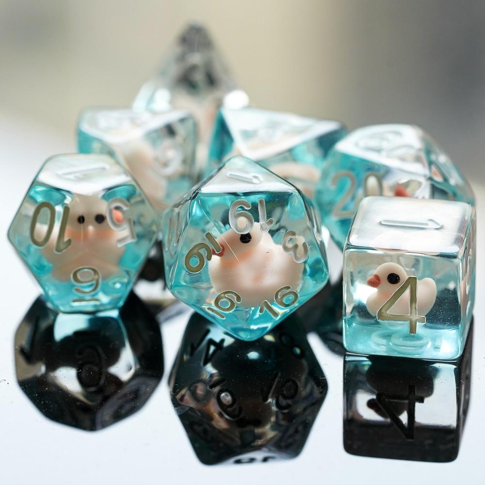7Pcs/set Animal DND Dice D&D Dice D4 D6 D8 D10 D% D12 D20 Polyhedral Games Dice Set for Table Games MTG RPG