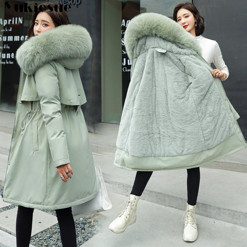 2020 New Cotton Thicken Warm Winter Jacket Coat Women Casual Parka Winter Clothes Fur Lining Hooded Parka Mujer Coats PLus size