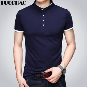 New  Polo shirts Men Cotton Stand Collar Tee shirt Homme Slim Fit Ropa de hombre Short-sleeve  Men Clothing B012