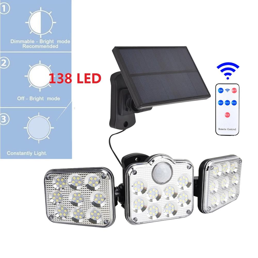 138 led remote seperable Solar Lights Outdoor Motion Sensor Light 3 Head Wall Light 270 Wide Angle Flood Light Garden 5M cable