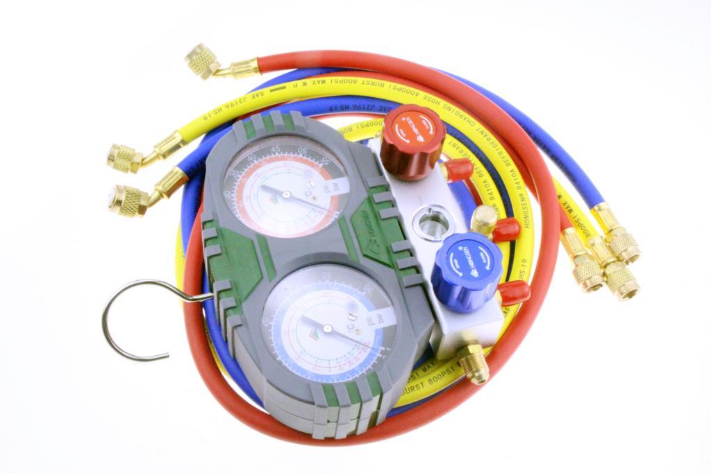 Манометр для хладагента и фторида, Ремонтный инструмент, манометр для трубопровода с шлангом для бытового и кондиционирования воздуха