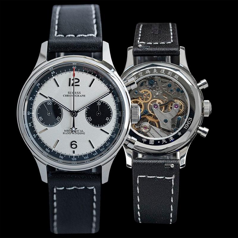 Seagull-ساعة رجالية ST19 1963 polit ، كرونوغراف ، سلاح الجو ، الياقوت ، ميكانيكية ، ساعة باندا ، 1963 سنة