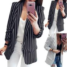 Autumn Winter Fits Women Blazer Mujer Formal Jacket Office Lady Open Front Notched Blazer Coat Fashi