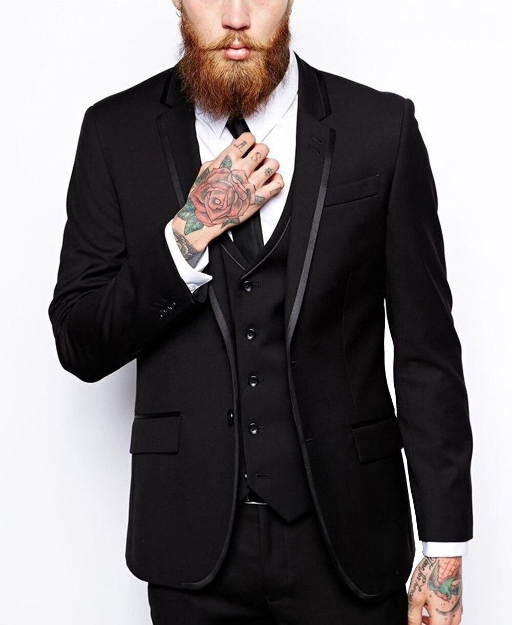Black Mens Suit 3 Pieces Formal Business Blazer Notch Lapel Groomsmen For Wedding Suit 2020 New (Blazer+Vest+Pants) notch collar pleated panel blazer