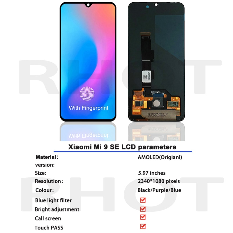 5.97''Original AMOLED LCD For Xiaomi Mi 9 SE LCD Display Touch Screen Digitizer Assembly With Frame For Xiaomi Mi 9se LCD Screen enlarge